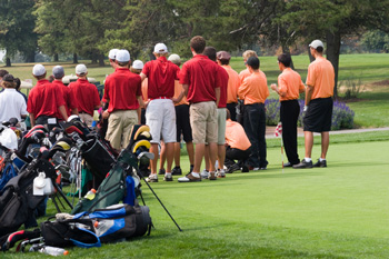 Image of golfers at a tournament